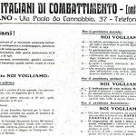 Il Manifesto dei Fasci italiani di combattimento – 6 giugno 1919