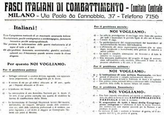 Il Manifesto dei Fasci italiani di combattimento - 6 giugno 1919
